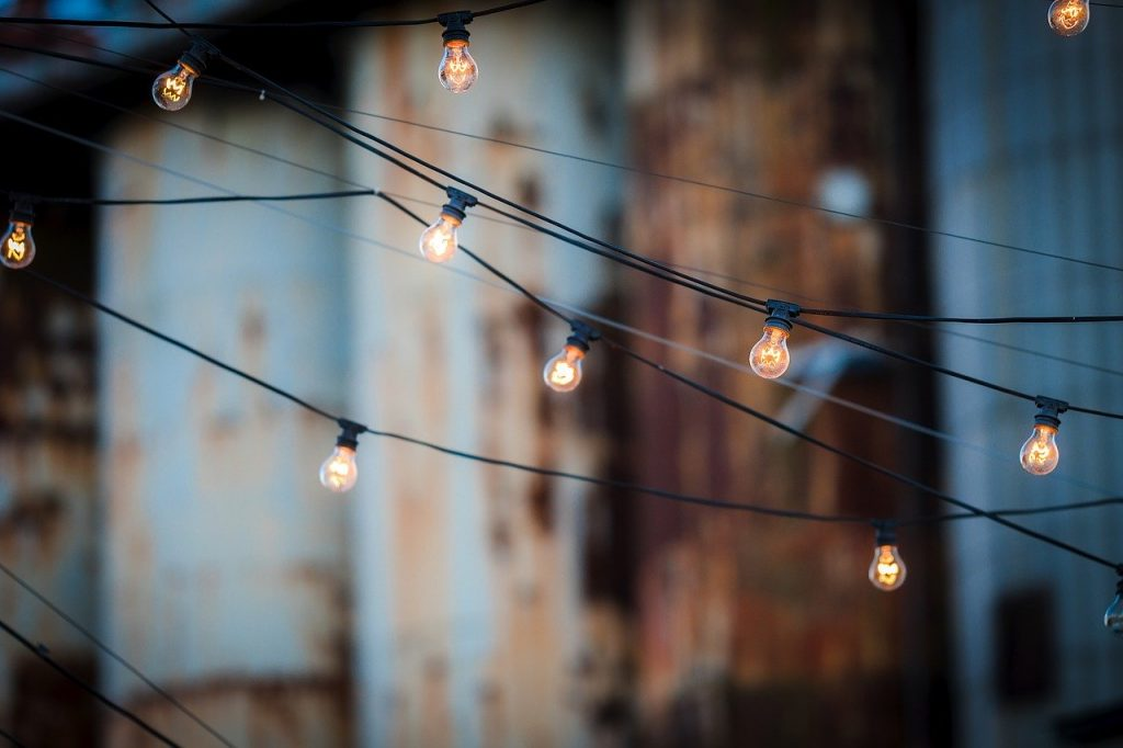 Lights hanging on wires